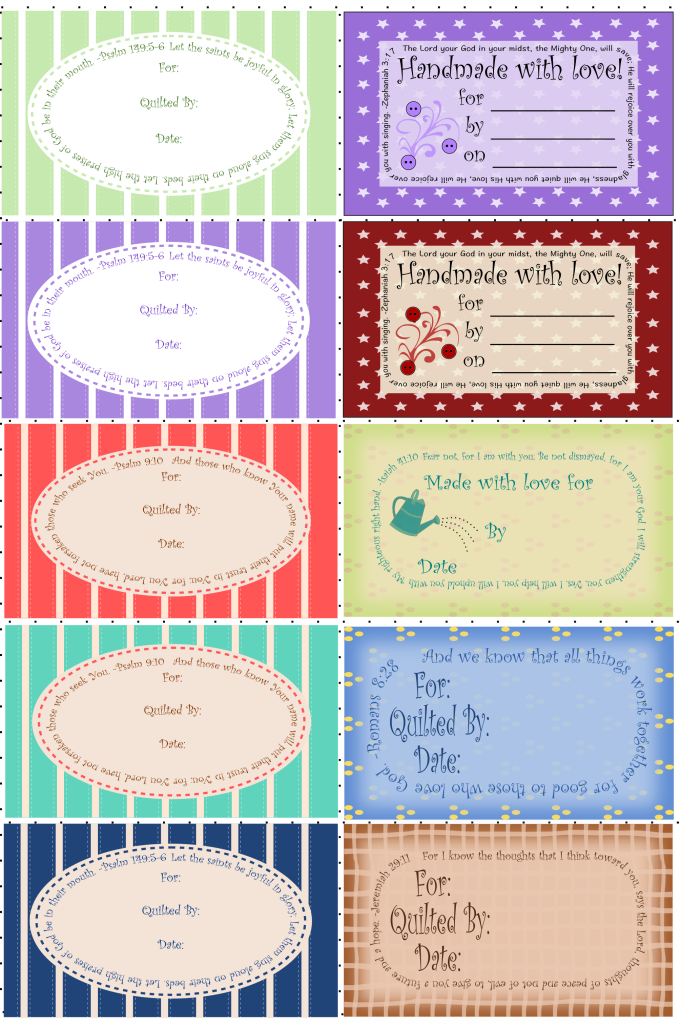Quilt Labels 10 with Scriptures